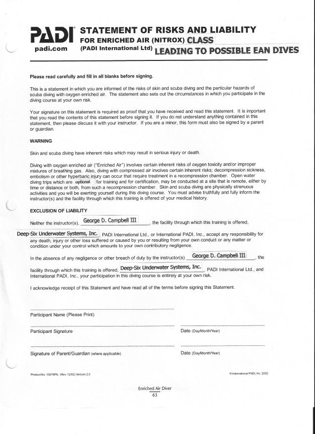Liability Form Free Printable Documents – Liability Document